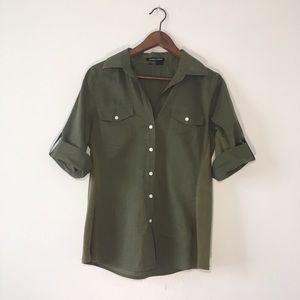 Sandra Ingrish Army Green Button Up Blouse